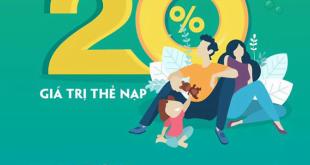 Ngày 10/10/2020, Viettel khuyến mãi tặng 20% giá trị thẻ nạp