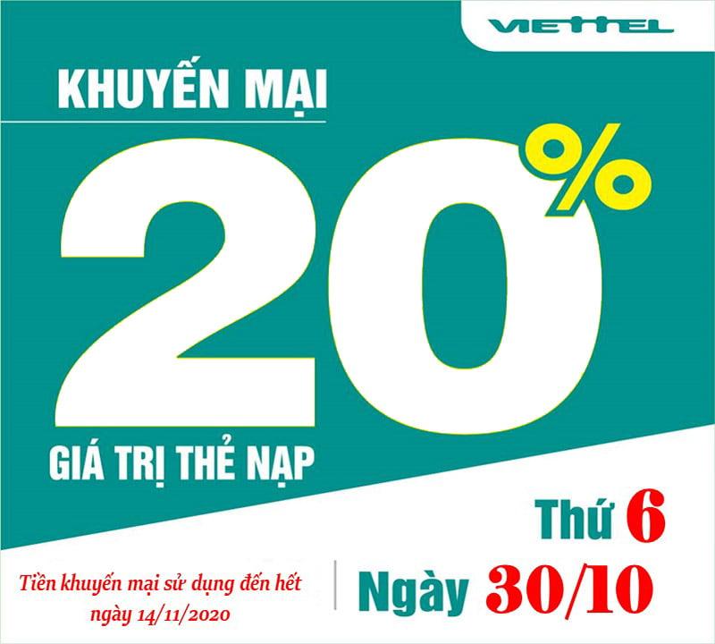 Ngày 30/10/2020, Viettel tặng 20% giá trị thẻ nạp trên toàn quốc