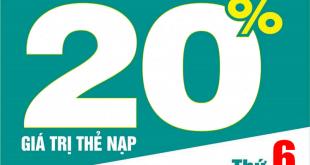 Ngày 20/11/2020, Viettel tặng 20% giá trị thẻ nạp trên toàn quốc