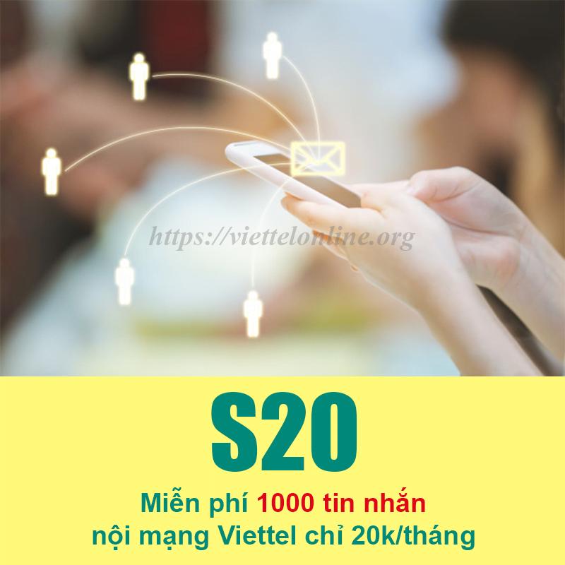 Đăng ký 1000 tin nhắn Viettel, gói S20 giá rẻ chỉ 20.000đ