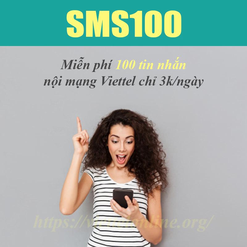 Đăng ký 100 tin nhắn Viettel, gói SMS100 giá rẻ chỉ 3.000đ