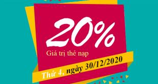 Ngày 30/12/2020, Viettel khuyến mãi 20% giá trị thẻ nạp