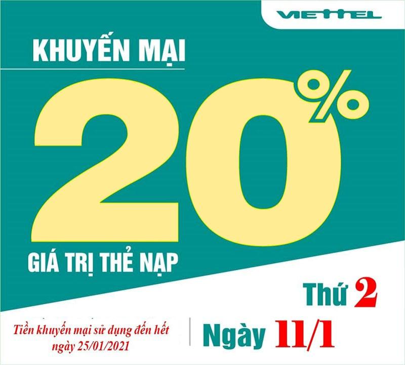 Ngày 11/01/2021, Viettel tặng 20% giá trị thẻ nạp trên toàn quốc