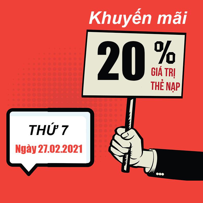 Ngày 20/02/2021, Viettel tặng 20% giá trị thẻ nạp trên toàn quốc