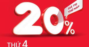 Ngày 10/03/2021, Viettel tặng 20% giá trị thẻ nạp
