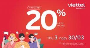 Ngày 30/03/2021, Viettel tặng 20% giá trị thẻ nạp
