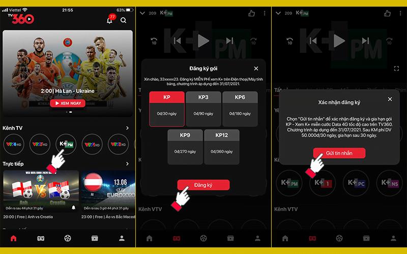 Cách xem bóng đá trực tuyến k+ miễn phí Data 3G/4G qua ứng dụng TV360