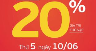 Ngày 10/06/2021, Viettel tặng 20% giá trị thẻ nạp trên toàn quốc