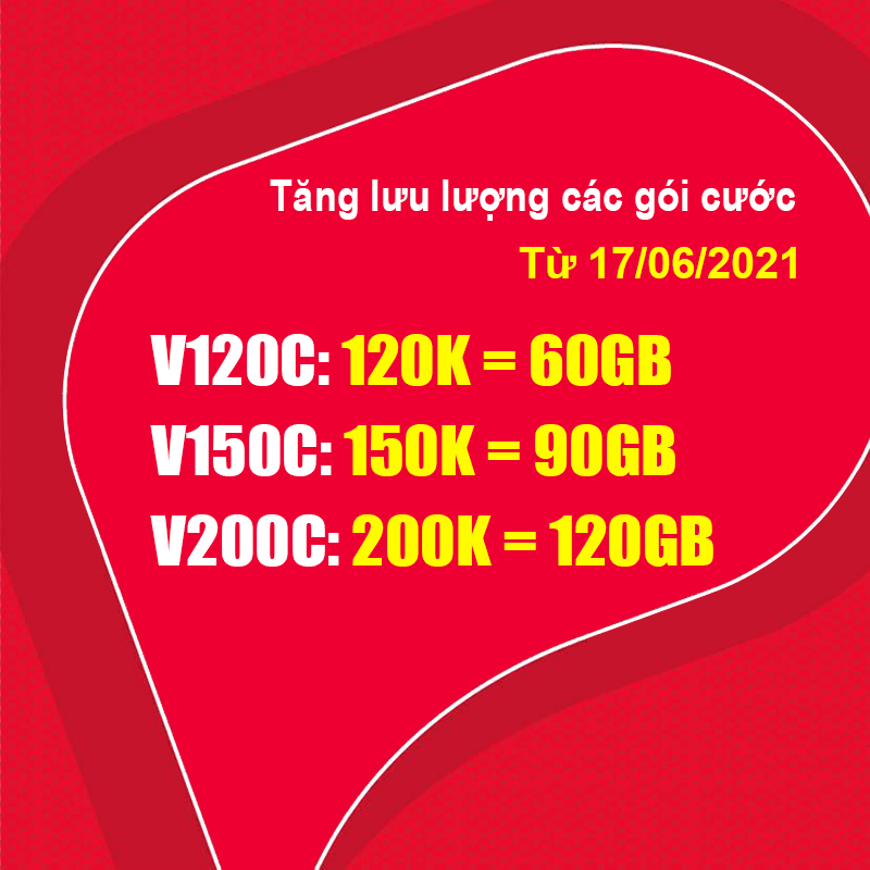 Từ 17/06/2021, Viettel điều chỉnh lưu lượng gói V120C, V150C, V200C