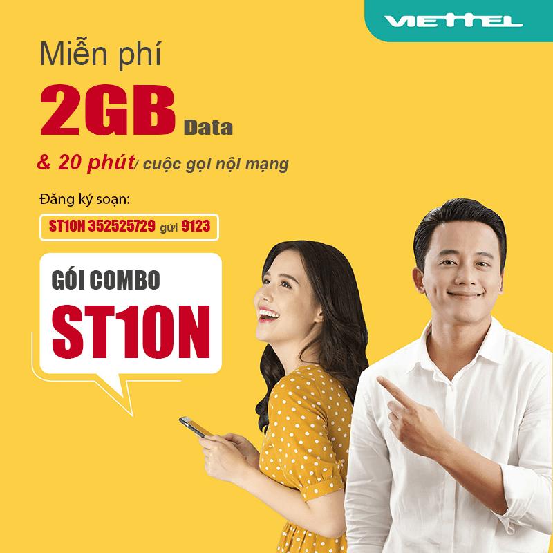 Đăng ký gói ST10N Viettel có 2GB, Gọi nội mạng miễn phí chỉ 10k/ngày