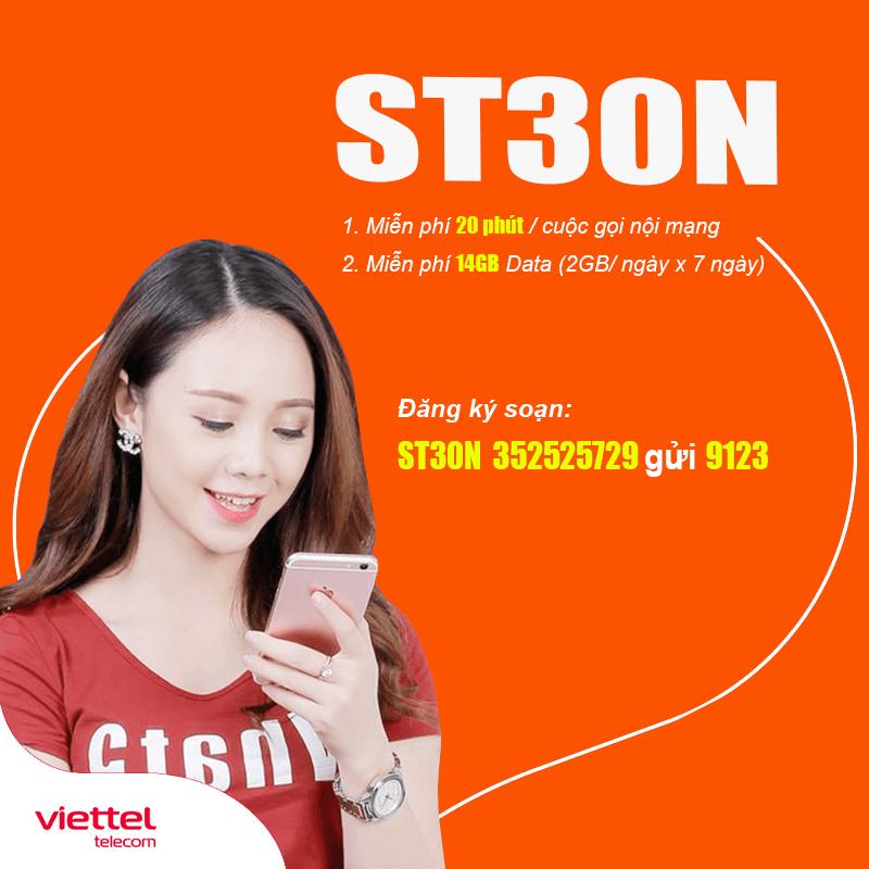 Đăng ký gói ST30N Viettel có 14GB, Gọi nội mạng miễn phí chỉ 30k/7 ngày