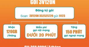Gói 3V120N Viettel miễn phí 120GB/Tháng trong 3 tháng giá 360k