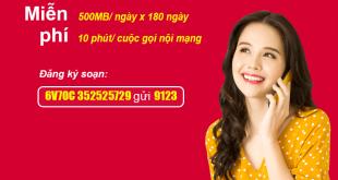 Gói 6V70C Viettel miễn phí 500MB/Ngày, gọi nội mạng dưới 10 phút giá 420k