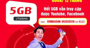 Đăng ký gói 12Umax50N Viettel có 5GB/tháng trong 12 tháng