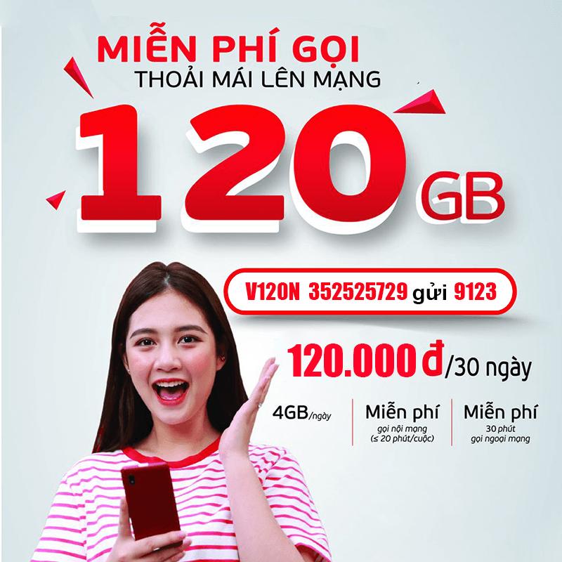 Gói V120N Viettel miễn phí 120GB/Tháng giá rẻ chỉ 120k