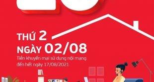 Ngày 02/08/2021, Viettel tặng 20% giá trị thẻ nạp