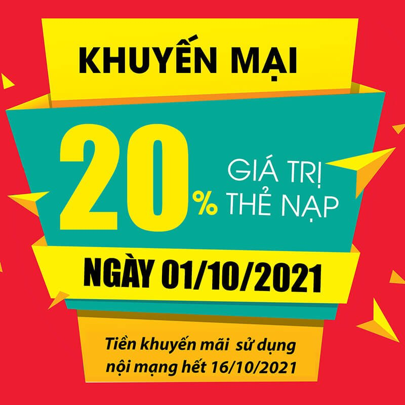 Ngày 01/10/2021, Viettel khuyến mại 20% tất cả các mệnh giá thẻ nạp