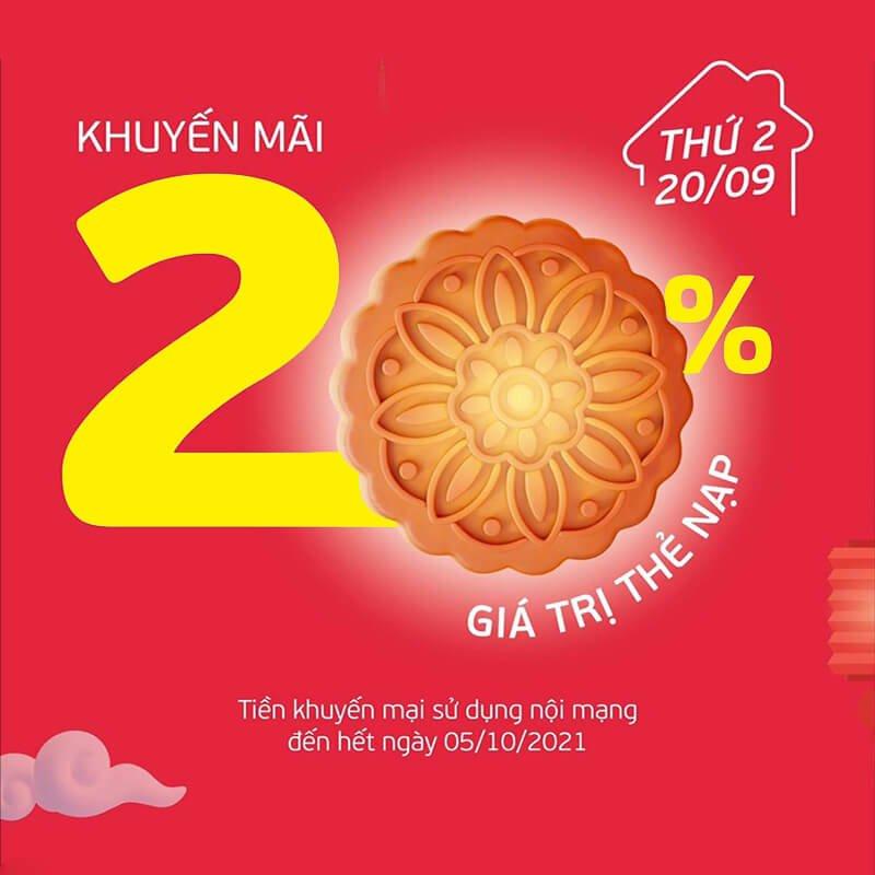 Ngày 20/09/2021, Viettel khuyến mại 20% tất cả các mệnh giá thẻ nạp