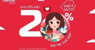 Ngày 20/10/2021, Viettel khuyến mại 20% tất cả các mệnh giá thẻ nạp